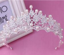 Wedding Bridal Crystal Pearl Silver Queen Crown Tiara Hair Accessories Headband
