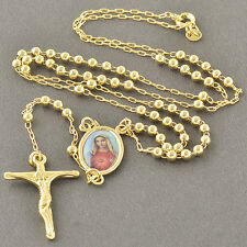 Womens Mens 18K Gold Filled Rosary Pray Bead Blessed Mary Long Cross Necklace