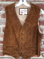 Vintage SEARS Leather Split Cowhide Vest Men's Size 40 Western Motorcycle Vest