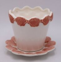 Fitz and Floyd Pink Shell Pot and Plate