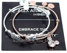 NEW Disney ALEX AND ANI Mickey Minnie Heart Valentine's Day Charm Bracelet SET