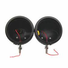 """2x 4.5"""" LED Black Passing Light Housing Cover For Harley Electra Glide Road King"""