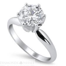 Si1/E 14K White Gold Engagement Ring Enhanced Diamond Ring Round Cut 1.02 Ct