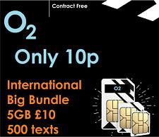 O2 02 INTERNATIONAL BIG DATA SIM CARD NANO MICRO 3IN1 TRACKER GSM 2G PAYG 4G
