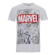 Marvel Men's Mono Comic Short Sleeve T-shirt White Large