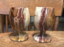 New listing 2 Vintage Hand Carved Alabaster Marble Stone Goblet Glasses