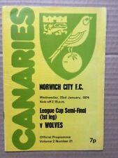 More details for norwich city v wolverhampton wanderers league cup semi final 1973-1974