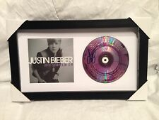 JUSTIN BIEBER SIGNED AUTO CD MUSIC COVER FRAMED COA MY WORLD *WOW* B