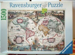 Ravensburger 1636 Historic World Map 1500 pce Jigsaw Puzzle 162116 Complete Rare