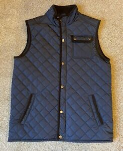 Class Club Mens Puffer Vest Navy With Corduroy Trim Size 18/20