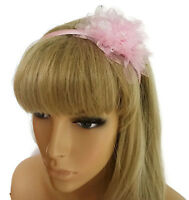 Gorgeous Pale Pink Sparkly Net Flower Satin Alice Band Headband Hair Band