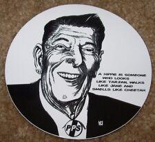 "POCKET PISTOLS Skate Sticker Ron Reagan Hippie 3.75"" skateboards helmets decal"