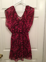 NWT Express Women's Purple Black Pink Wave Pattern Sleeveless Dress Small