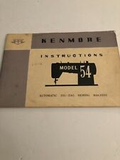 Vintage Kenmore Sewing Machine Model 54 Manual From 1962