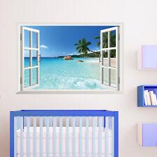 Hot 3D Simulation Window Seaview Hawaii Mural Wall Sticker Room Decal Decor