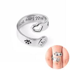 """Anillos Pata de perro corazón amor """"I will love you forever"""" joyería Anillo Ring"""