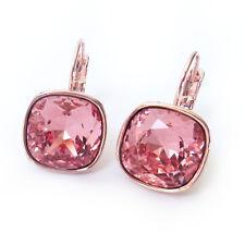 Earrings w/ 12mm Cushion Cut Swarovski Blush Peach Rose Gold Plated Crystal Drop
