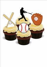 AMERICAN BASEBALL MIX 12 STAND UP Edible Cake Toppers Premium Wafer Paper