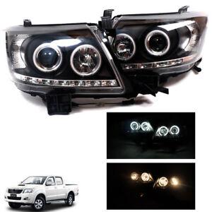Fit 2012-2015 Toyota Hilux Pickup Head Light Lamp Projector Led Black LH+RH