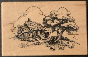 PSX F-2460 Cottage Landscape Sheep Rubber Stamp