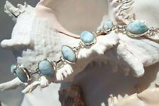 Natural Caribbean Larimar Solid 925 Sterling Silver Bracelet AAA Grade Gemstones