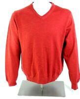 Sette Ponti Mens Italian Merino Wool Red V Neck Sweater Size Medium Italy