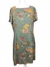 Vintage 1990s Laura Ashley UK 18 Sage Green Floral Tea Dress