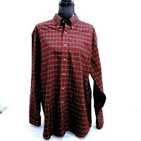 L.L. Bean wrinkle free traditional fit long sleeve button up, red/green