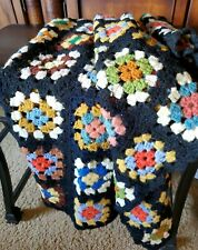 "Vintage Crochet Granny Square Crocheted Afghan Blanket Throw 33"" x 50"""