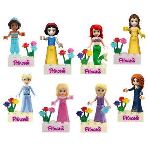 8Stk Disney Snow White Mermaid Belle Aurora Princess Mini Figures Toys Fits lego