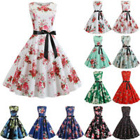 Women Floral Swing Dress Vintage Rockabilly Evening Party Prom Formal 50s Retro