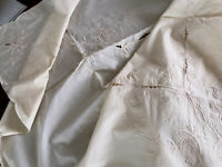 VINTAGE Unused HAND EMBROIDERED Cream Cotton TABLECLOTH 68x51 Inches