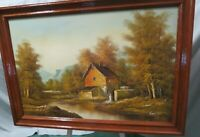 "Vtg Oil On Canvas Framed Painting Signed H. Wilson Old Mill Waterwheel 40""x 28"""