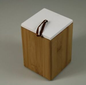 D5 / Wood Can with Lid - Soapland Organizer - Bamboo With White Lid 16 CM /S129