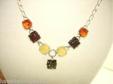"925 STER Silver Genuine Baltic Sea Mixed Amber Gems Designer Necklace 20.5"" #2"