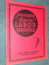 1937 FORD CAR & TRUCK FLAT-RATE MANUAL / ORIGINAL LABOR TIMES BOOK