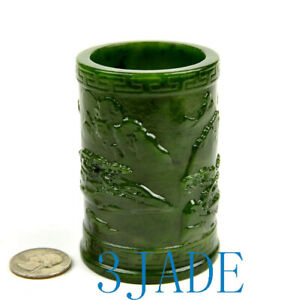 Green Nephrite Jade Pen Holder with Chinese Landscape Carving Pencil Cup Holder