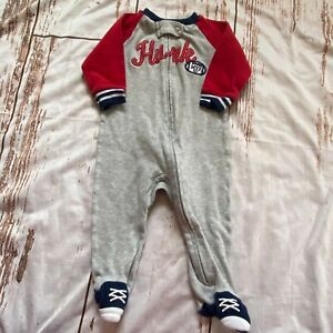 """Carter's infant boys """"hunk"""" one piece sleeper-gray/red-6 months-guc"""