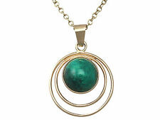 Vintage Green Agate and 14k Yellow Gold Pendant Circa 1940