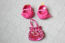 Build A Bear Pink Bow Shoes Sequin Purse Sparkle Mary Jane Flats Heart