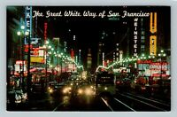 San Francisco CA, Market Street At Night, Coca-Cola, California Chrome Postcard