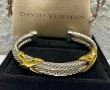 Sterling Silver Cuff David Yurman 14K Gold Double X Double Row Bracelet