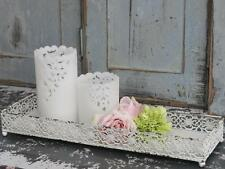 Vintage Chic White Rustic Metal Rectangle Tray for Candles Jewellery Trinkets