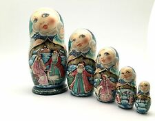 Snegurochka / Snow Maiden Russian Christmas Nesting Doll Hand Painted Signed