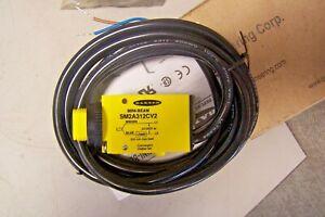 NEW BANNER ENGINEERING SM2A312CV2 MINI BEAM SENSOR BLACK CABLE 26185