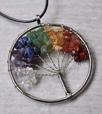 7 Chakra Healing Stones Tree Of Life Pendant Necklace Reiki Gift crystal
