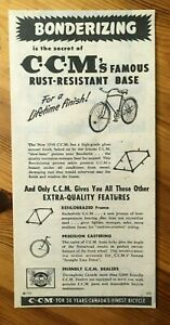 @ FREE SHIPPING @ 1950 CANADA CANADIAN AD CCM BIKE BICYCLE RUST RESISTANT BASE