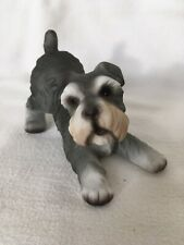 HHH Harvey Knox Bisque Porcelain Crouching Schnauzer Dog Figurine Collectible