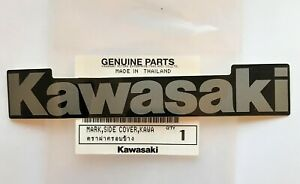 Kawasaki Mark Sticker Decal Silver / Black 130mm X 20mm 100% Genuine *UK STOCK*