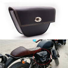 Triangle Motorcycle Black Synthetic PU Leather Saddle Bag Luggage Tool Side Bag